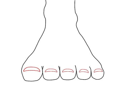 Рисуем ступни - вид спереди - Шаг 7