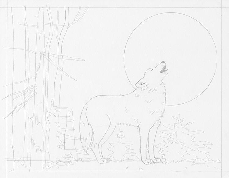 Шаг 6: Нарисуйте Луну в качестве фона для волка