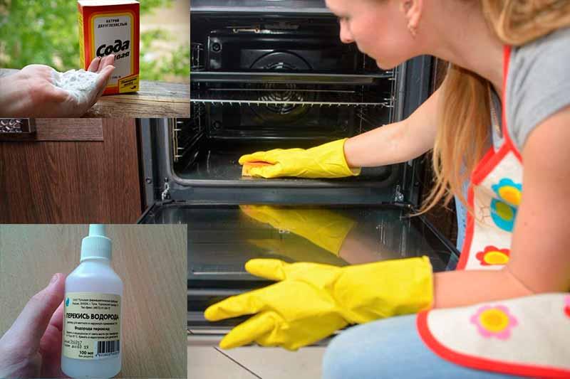 Раствор соды и перекиси водорода для чистки духовки от жира и нагара