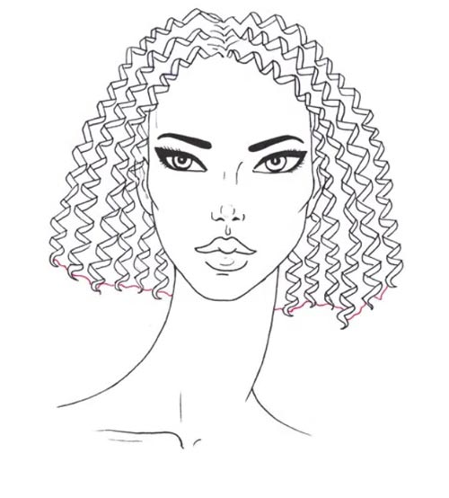 Как нарисовать вьющиеся волосы поэтапно шаг 8