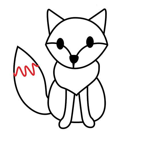 Рисуем на хвосте лисы белый кончик