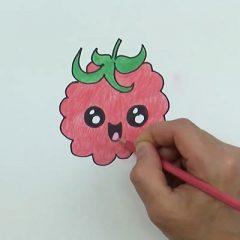 Малина, рисунок для детей карандашом.