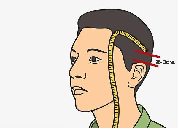 Для измерения обхвата головы приложите портновский сантиметр на расстоянии 2-3 см над кончиками ушей.