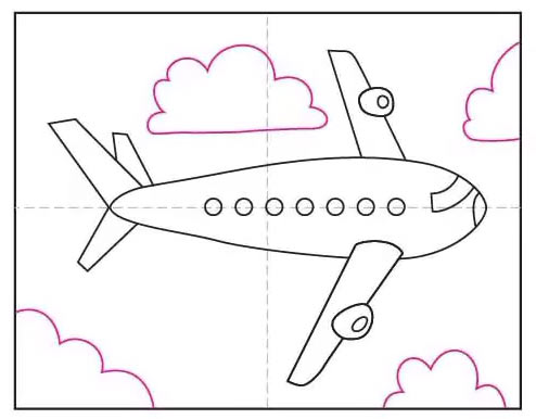 Рисунок самолёта карандашом для детей - Шаг 8