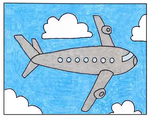 Рисунок самолёта карандашом для детей - Шаг 9