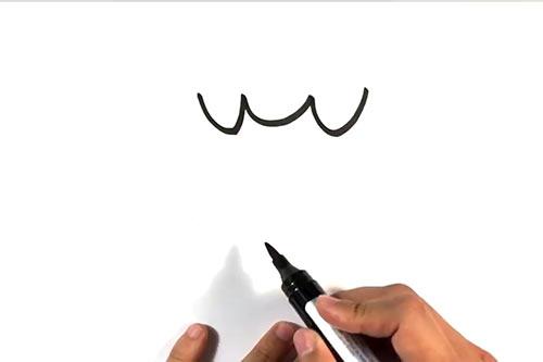 Как нарисовать летучую мышь - Шаг 2