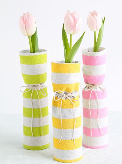 Обтянутые тканью весенние вазы своими руками