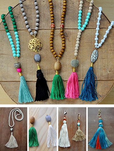 Ожерелья с бусинами и кисточками своими руками