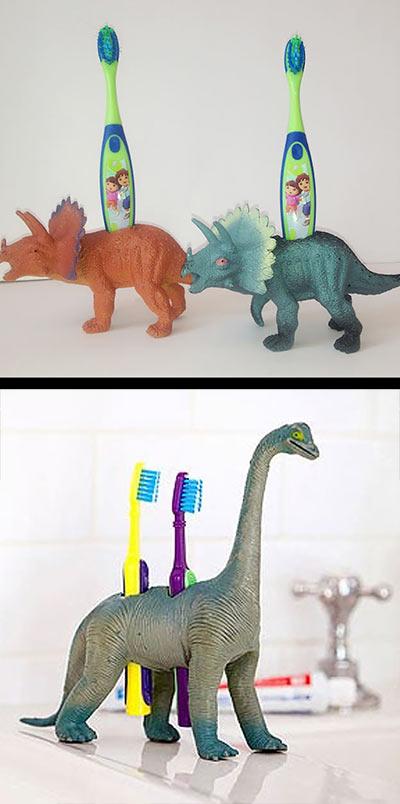 Подставки для зубных щеток из фигурок динозавров своими руками