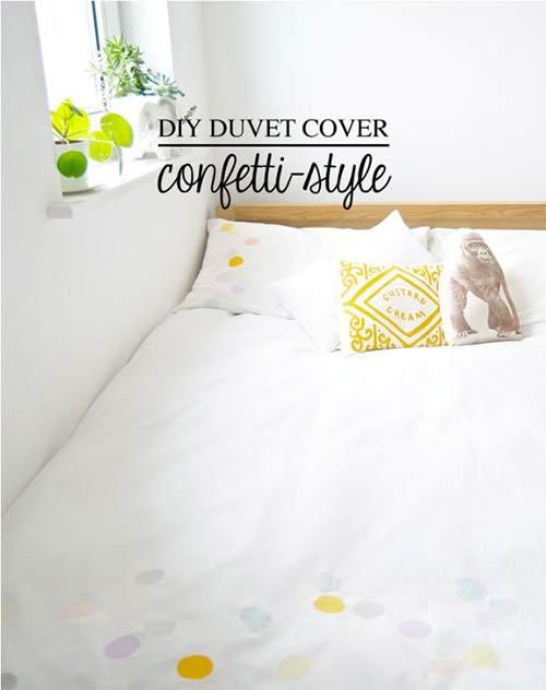 Пододеяльник в стиле конфетти для декора спальни