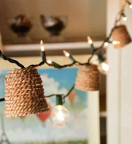 Джутовые абажуры для гирлянды для декора спальни
