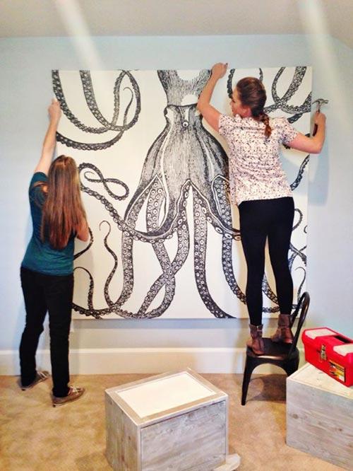 Картина с осьминогом для декора спальни