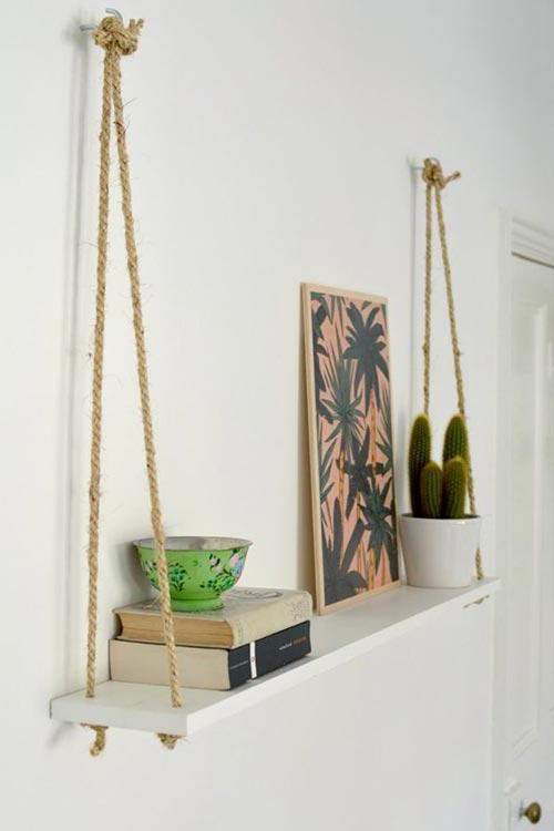 Легкая веревочная полка для декора спальни