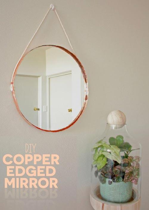 Зеркало с медной кромкой для декора спальни