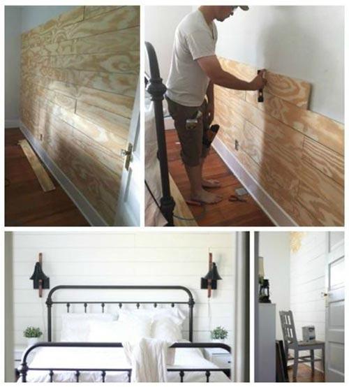 Стена из шиплапа для декора спальни