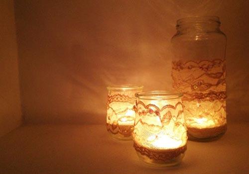 Кружевные свечи для декора спальни