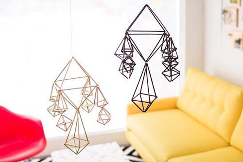 Подвесные геометрические фигуры для декора спальни