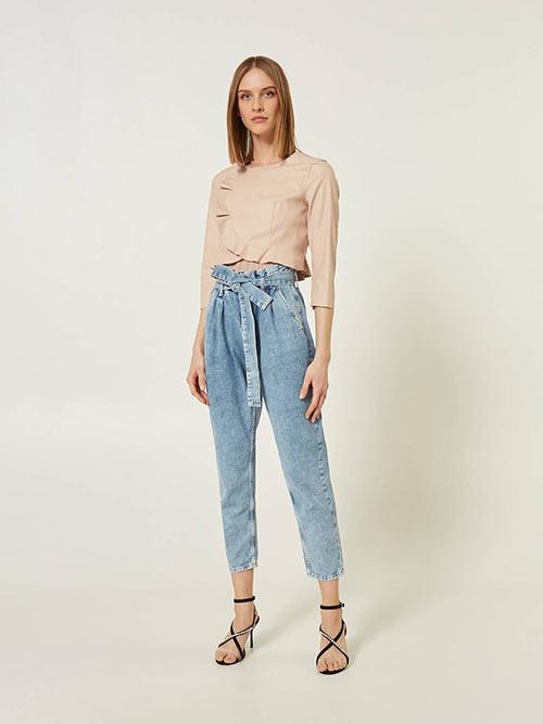 Недорогие джинсы Carrot Fit с поясом от Motivi