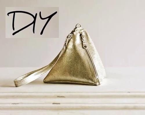 Сумка-пирамида из старых кожаных вещей