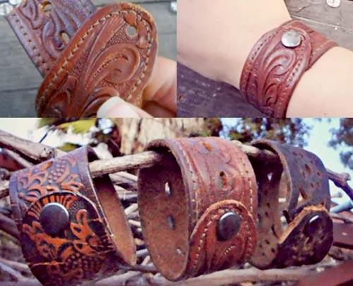 Браслеты из кожаных ремней из старых кожаных вещей