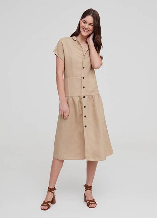 Недорогое однотонное платье из льна и вискозы от OVS
