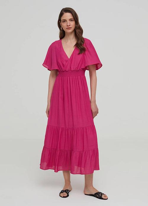 Недорогое длинное платье с оборками от OVS